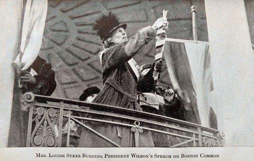 Burning President Wilson's speech at the Parkman Bandstand on Boston Common
