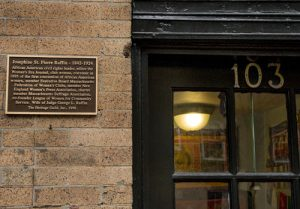 Josephine St. Pierre Ruffin plaque at her home at 103 Charles Street