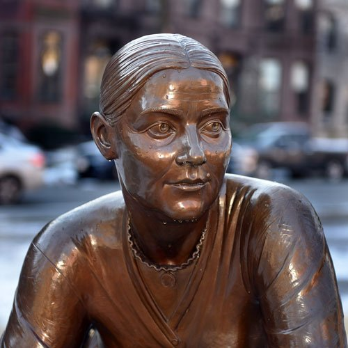 Close-up of Lucy Stone at Boston Women's Memorial