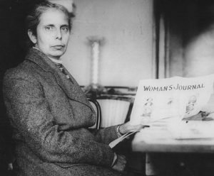 Alice Stone Blackwell holding the Women's Journal