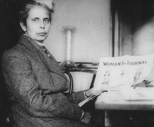 Alice Stone Blackwell holding the Women's Journal