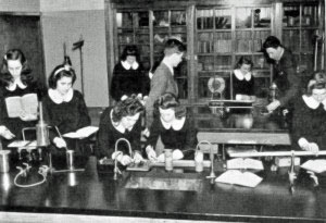 Students at Cathedral High School study in a science lab in 1950